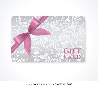 Gift coupon, gift card (discount card, business card) with floral (scroll, swirl) silver pattern (tracery), pink bow (ribbon). Holiday background design for invitation, ticket. Vector