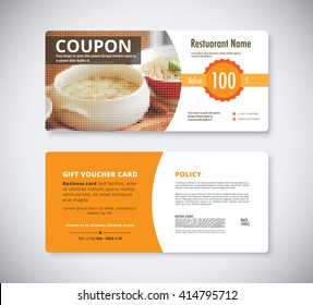 Gift coupon voucher template for restaurant. flyer brochure vector stock.