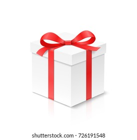 Gift cube box with red color bow knot and ribbon isolated on white background. Happy birthday, Christmas, New Year, Wedding or Valentine Day package concept. Closeup Vector illustration 3d view