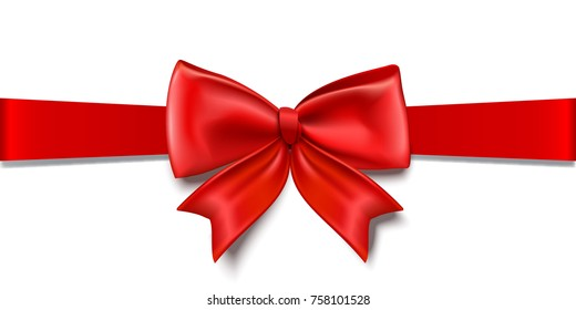 Gift decoration. Red ribbon - for stock