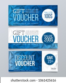 Gift and discount voucher design template. Blue polygonal banner background.