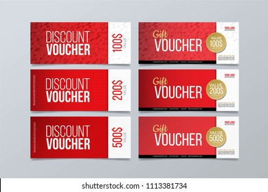 Gift and discount voucher design template. Set of 6 red geometric banner background.