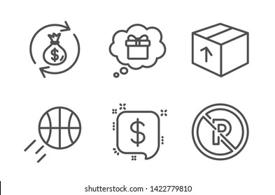 Gift dream, Basketball and Payment message icons simple set. Package, Money exchange and No parking signs. Receive a gift, Sport ball. Line gift dream icon. Editable stroke. Vector