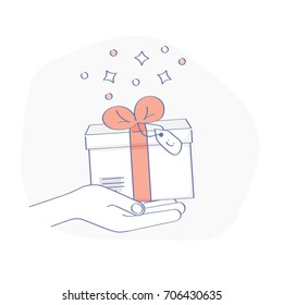 Gift giving. Hand holding a gift box, bonus, flat design outline banner, usage for e-mail newsletters, web banners, headers, blog posts, print and more.