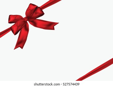 Gift Giving Red ribbon with bow on white background.