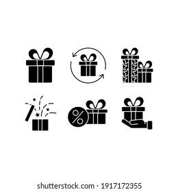 Gift glyph icon set. Closed present. Surprise in box. Celebrate birthday. Give away. Thin line customizable illustration. Contour symbol. Vector isolated outline drawing.