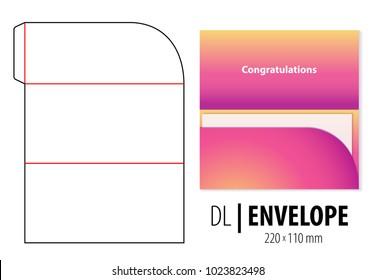 Gift greeting card envelope die cut, stamp. Empty DL size shablon, blank template. Gift invitation, wedding, greeting, honeymoon, holiday, marriage, celebrate, birthday, congratulation, money, cash.
