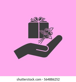 gift and hand vector icon
