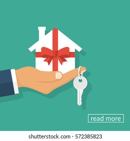 Gift home. Man holding a white paper house as a gift wrapped with ribbon and bow. Key on the finger. Vector illustration flat design. Isolated on background. Surprise estate.