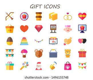 gift icon set. 30 flat gift icons.  Collection Of - bow, boxes, box, wedding, heart, basket, diamond, for sale, baby girl, chocolate egg, rings, garland, online shop, cupid, ornament