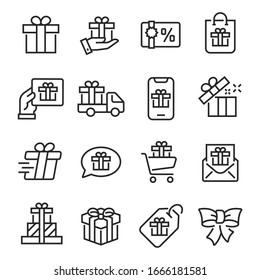 Gift icon set. Сollection of linear simple web icons such as discount coupons, buy and send gift, etc. Editable vector stroke.