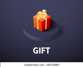 Gift icon, vector symbol in flat isometric style isolated on color background