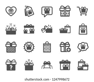 Gift icons. Present box, Offer and Sale. Shopping cart, Tag and Chat. Speech bubble, Give a gift box, question mark, birthday discount. Shopping sale cart, present tag, delivery. Vector