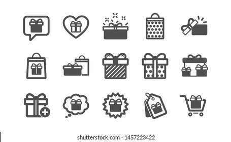 Gift icons. Present, Special offer and Sale. Shopping classic icon set. Quality set. Vector