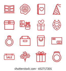 Gift icons set. set of 16 gift outline icons such as present, necklace, arrow up, notebook with heart, party hat, photo album, sale tag, parcel, box, shopping bag, ring, gift