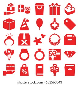 Gift icons set. set of 25 gift filled icons such as gem, ring, box, present, balloon, ring in box, cookie, bouquet flower, photo album, tag, shopping sale, necklace