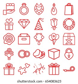 Gift icons set. set of 25 gift outline icons such as present, necklace, diamond, earring, shopping bag, rose, arrow up, sweet box, heart lock, rings, party hat, party pipe