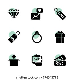 Gift icons. vector collection filled gift icons set.. includes symbols such as package, present, shopping tag, love letter, sale tag, sale. use for web, mobile and ui design.