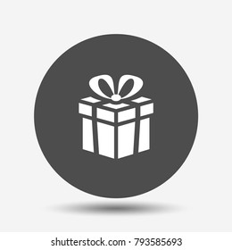 Gift. Isolated vector icon, sign, emblem, pictogram. Flat style for design, web, logo or UI. Eps10
