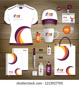Gift Items business corporate identity, Vector abstract Color promotional souvenirs design with origami elements for diagonal lines. link digital technology company Stationery set,