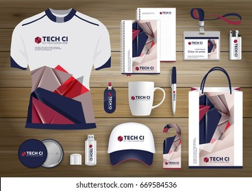 Gift Items business corporate identity, Vector abstract Color promotional souvenirs design with origami elements for diagonal lines. link digital technology company Stationery set, brown, blue, red