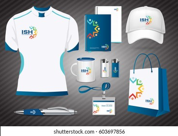 Gift Items, Color promotional souvenirs design for corporate identity with diagonal lines. Stationery set, people logo color community group corporate identity template, network, friends, charity,