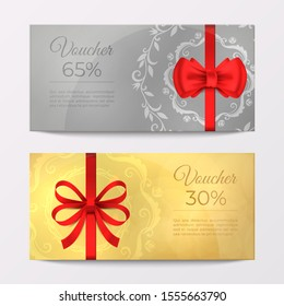 Gift luxury certificate voucher card. Red ribbon elegant celebration coupon. Realistic vector illustration gold and silver discount promotion flyer for holiday gifts discount on gray background