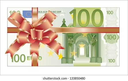 Gift of money. Stack of euro bills with red ribbon isolated on white background.