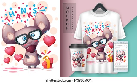 Gift mouse, rat - mockup for your idea. Vector eps 10
