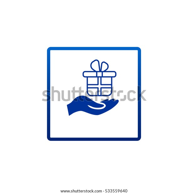 Gift on the hand icon Vector.
