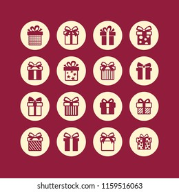 Gift package circle icons. Vector illustration.