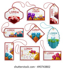 Gift package tags set including labels of different shape with boxes frames and strings isolated vector illustration