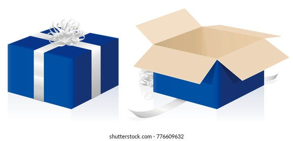 Gift package, wrapped and unwrapped blue parcel, closed and opened present carton box - 3d isolated vector illustration on white background.