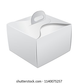 Gift Packaging White Box with Handle mockup for Cake. Paperboard Packaging Container Template for Wedding Party Decoration for your design