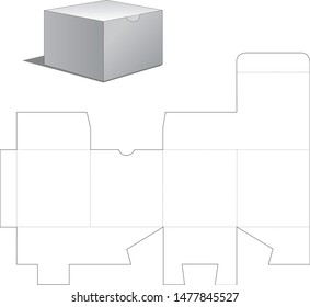 Gift Paper Box with Die Cut Template