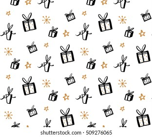 Gift pattern, seamless texture with hand drawn illustrations of present boxes. Vector gifts background.