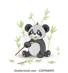 Gift postcard with cartoon animals panda. Decorative floral background with branches and plants.