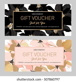Gift Premium Certificate. Gift card. Gift voucher. Coupon template.  Background for the invitation, shop, beauty salon, spa. Black and pink poinsettia on a white background