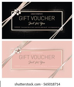 Gift Premium Certificate. Gift card. Gift voucher. Coupon template. Background for the invitation, shop, beauty salon, spa.