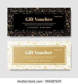 Gift premium voucher, coupon template. Golden Flower, Template for design certificate. Background for the invitation, shop, beauty salon, spa. Black, gold vector elegant.