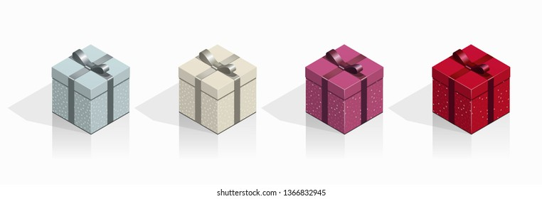 Gift present boxes with bow ribbon 3d packaging illustration template set valentines