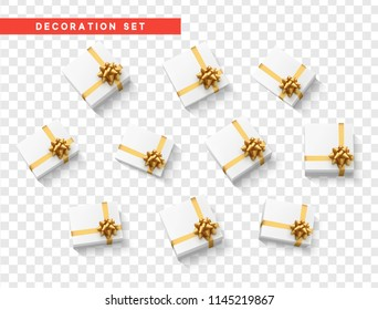 Gift present boxes with gold ribbon and bow, white color. Isolated on a transparent background. Flat lay, top view