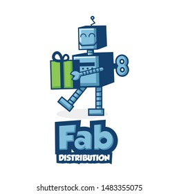 gift robot toy character logo design template