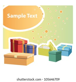 Gift set of many colors. Vector illustration.