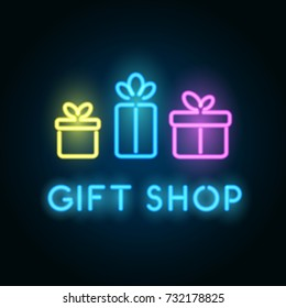 Gift shop neon sign. Signboard for store front. Vector logo template