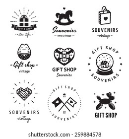 Gift shop and souvenirs logo vintage vector set. Hipster and retro style. Perfect for your business design.