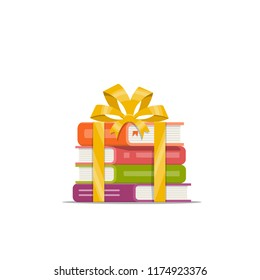 Gift of stacked books with golden ribbon and bow. Icon, symbol, emblem for bookstore, library and online shop. Holiday present. Vector illustration in flat style.