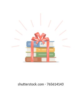 Gift of stacked books with red ribbon and bow. Concept design of book is the best present. Vector illustration in flat style.
