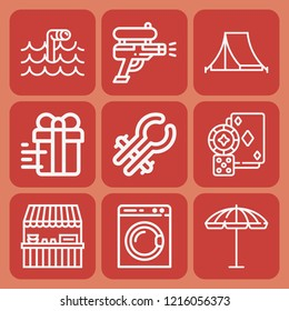 Gift, stall, water gun, umbrella, submarine periscope, tongs, gambling, washing machine icon set suitable for info graphics, websites and print media and interfaces