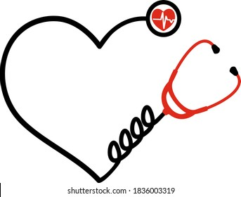 Gift stethoscope for doctors and nurses. Stethoscope, Doctor examining tool On transparent background. Heart stethoscope red and black. VECTOR